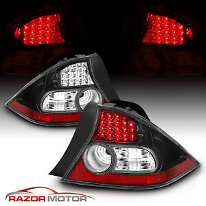 For 2004 2005 Honda Civic 2dr Ex hx lx dx value Led Black Rear Brake Tail Lights