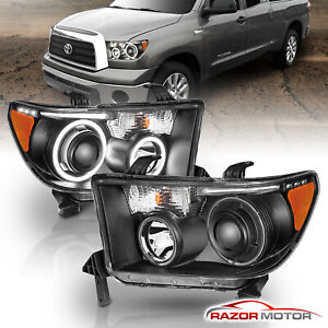 dual Ccfl Halo for 2007 2014 Toyota Tundra sequoia Projector Black Headlights