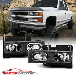 1988 1998 Chevy C K 1500 2500 3500 Gmc Sierra Halo Black Headlights Bumper Lamps