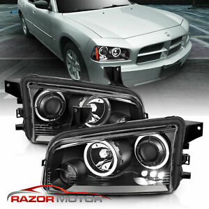 2006 2010 For Dodge Charger Black Projector Headlights Pair Hi Power Led Halo