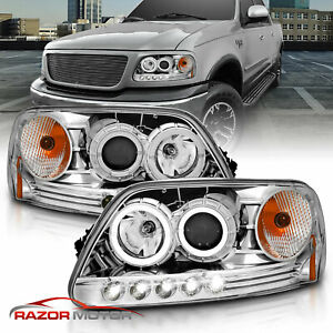 1997 2003 Ford F150 97 2002 Ford Expedition Led Halo Projector Chrome Headlights