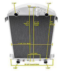 3 Row Ace Champion Radiator For 1930 1931 Ford Model A Flathead Conversion