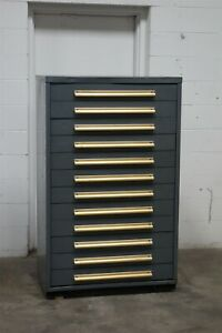 Used Equipto 10 Drawer Cabinet Industrial Tool Storage 37x19x59 1816 Vidmar