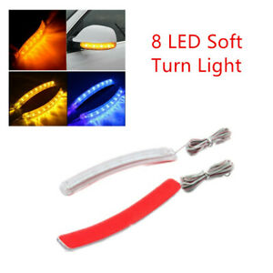 2x Yellow Car Side Mirror Led Amber Lamp Soft Turn Signal Light Strip Universal