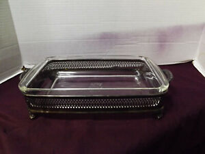 Silver Plated Fb Rogers Footed Serving Tray Dish Holder W Pyrex Dish