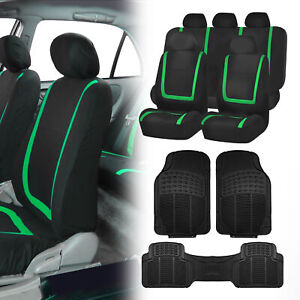 Black Green Car Seat Covers With Black Rubber Floor Mats For Auto Car Suv