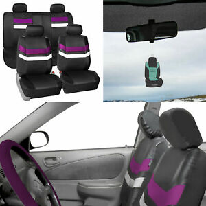 Universal Fit Leather Seat Covers Full Set For Suv Car Van Auto Purple W Gift