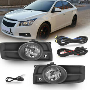 Clear Bumper Lamps Driving Fog Lights Switch Bezels For 2011 2014 Chevy Cruze Us