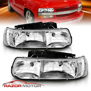 1999 2000 2001 2002 Chevy Silverado 2000 2006 Tahoe suburban Chrome Headlights