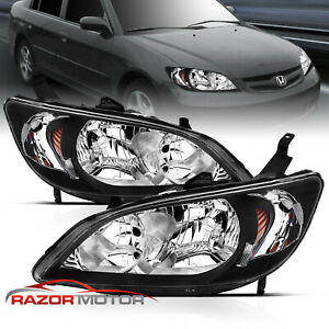 For 2004 2005 Honda Civic Sedan Coupe Factory Style Black Headlights Pair