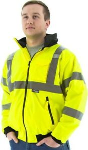 Majestic 75 1301 High Visibility Waterproof Winter Bomber Jacket Neon Green