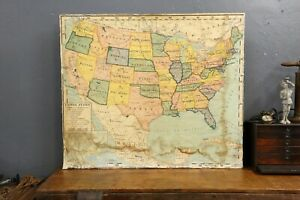 Vintage A J Nystrom United States History School Classroom Wall Map Cloth 50x43
