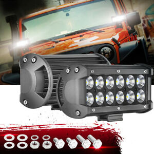 2x 7 Inch Cree Led Work Light Bar Flood Combo Off Road 6000k Driving Lamps 4wd