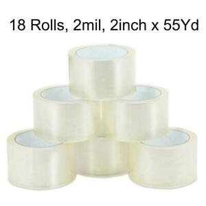 18 Rolls 2 Mil 165ft 2 X 55 Yards Clear Carton Sealing Packing Package Tape
