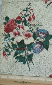 French Antique Hand Blocked Printed Floral Botanical Chintz Fabric C1850 28 X25