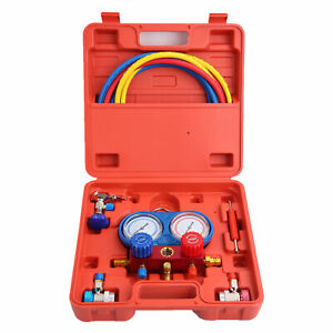 R134a Air Conditioning Refrigeration Manifold Gauges With 60 Hoses Us Ship