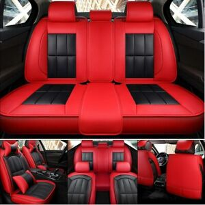 Auto 5 seat Wear Leather Car Seat Cover Full Protectors W 4pc Pillows Universal