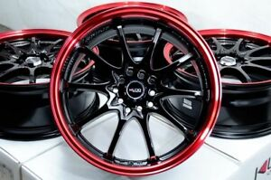 17 Wheels Lexus Gs300 Is300 Mazda3 Camry Prius Civic Black Red Rims 5x114 3