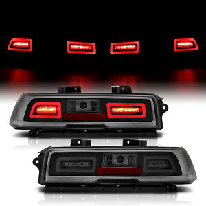 2014 2015 Chevy Camaro Led Smoke Rear Brake Tail Lights Lamps Pair
