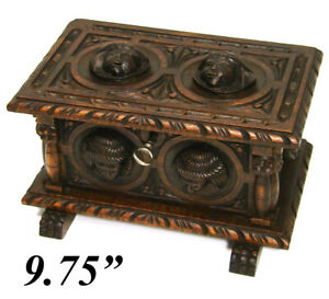 Charming Antique Victorian Carved Black Forest Style 9 75 Casket Figural Box