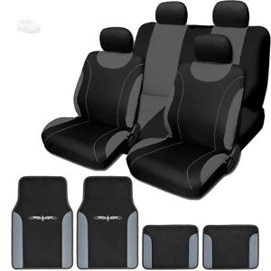 For Ford New Black And Grey Flat Cloth Car Truck Seat Covers With Mats Full Set