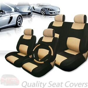 For Honda Premium Black Tan Synthetic Leather Car Seat Steering Covers Set