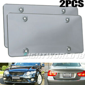 2x Smoke License Plate Cover Shield Tinted Plastic Car Backup Tag Protector