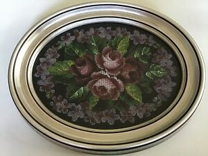 Antique Victorian Tiny Glass Beads Tapestry Silver Wood Framed Lovely