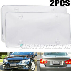 2x Clear Flat License Plate Cover Shield Tinted Plastic Car Backup Tag Protector