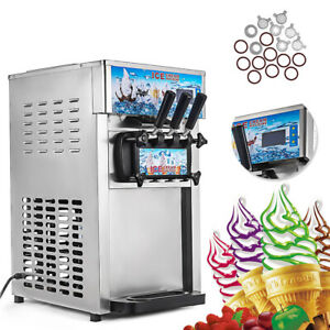 Usa Frozen Soft Serve Ice Cream Maker Machine Mix Flavors 3 Head 18l h Led