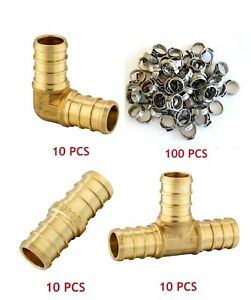 130 Pcs 3 4 Pex Crimp No Lead Brass Fittings With Stainless Steel Clamps
