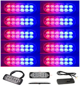 10x Red Blue 12led Emergency Hazard Warning Beacon Strobe Flash Light Bar G