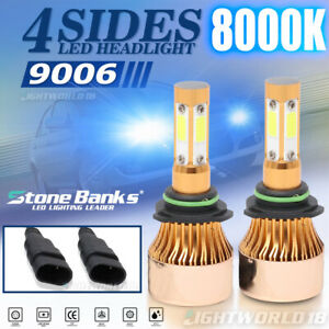 4 Side 8000k 9006 Hb4 Led Headlight Bulb Low Beam Blue Light 2000w 800000lm 360
