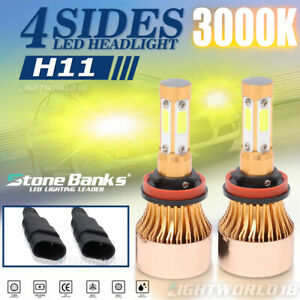 4 Side 3000k H11 H8 H9 Led Headlight Bulb Low Beam Yellow Light 2000w 800000lm