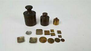 Vintage Brass Apothecary Scale Weights Oz Grains Grammes