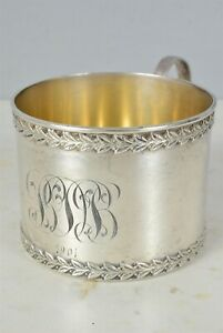 C1901 Sterling Silver Mug Cup Tea Glass Holder Watrous Manufacturing Wallingford