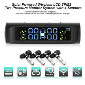 Solar Power Tpms Car Lcd Tire Pressure Alarm Monitor System 4 Internal Sensors