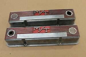 Vintage Sbc Chevy Mickey Thompson 103r 50b M T Aluminum Finned Valve Covers