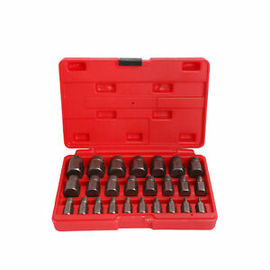 Multi spline Screw Extractor Set Hex Head Bit Socket Wrench Bolt Remover 25pcs