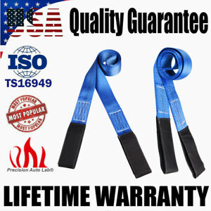 2 Pack 6 X 2 Heavy Duty Nylon Lifting Sling Flat Tow Strap Web Lift Sling Blue