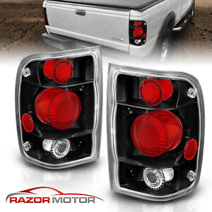 1998 1999 2000 Ford Ranger Factory Style Black Rear Brake Tail Lights Pair