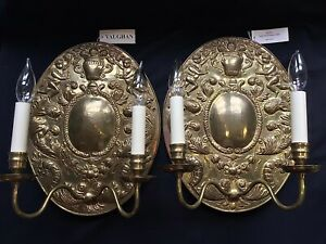 Vaughan Lighting Early Dutch Antique Brass Wall Sconce 2 Wl29 Made In England