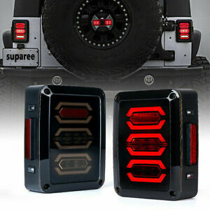2x Tail Lights Rear Brake Lamp Led Smoke Lens For 07 18 Jeep Wrangler Jk Jku