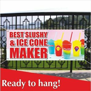 Slushy Ice Cone Advertising Vinyl Banner Mesh Banner Sign Flag Best Maker