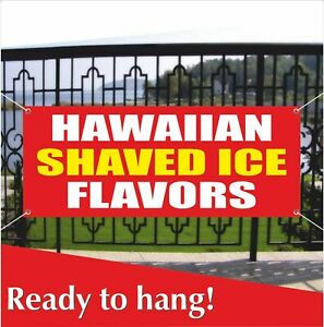 Hawaiian Shaved Ice Flavors Advertising Vinyl Banner mesh Banner Sign Cone Snow