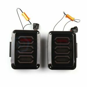 For 07 17 Jeep Wrangler Jk Jku 2x Black Led Tail Lights Brake Rear Reverse Lamp