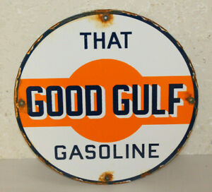 Good Gulf Oil Vintage Style Porcelain Signs Gas Pump Plate Man Cave Station