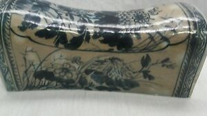 Fine Antique Chinese Famille Hand Paint Blue Pottery Pillow