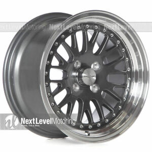 Circuit Cp21 15 8 4 100 25 Gloss Gun Metal Wheels Fits Acura Integra Dc2 Mesh