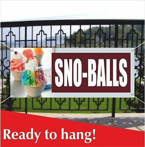 Sno Balls Advertising Vinyl Banner Mesh Banner Sign Flag Shaved Ice Snow Cones